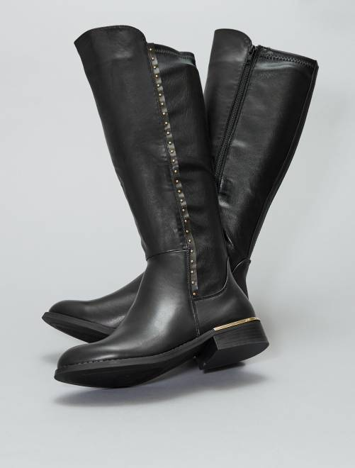 Botas altas con tachuelas                             negro