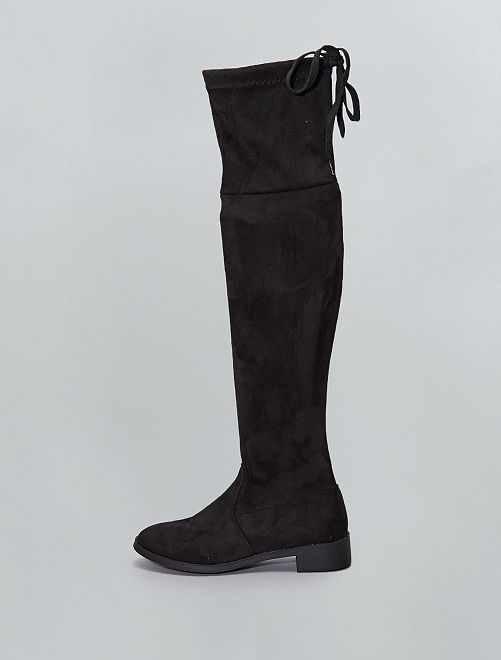 Botas altas de antelina                             negro