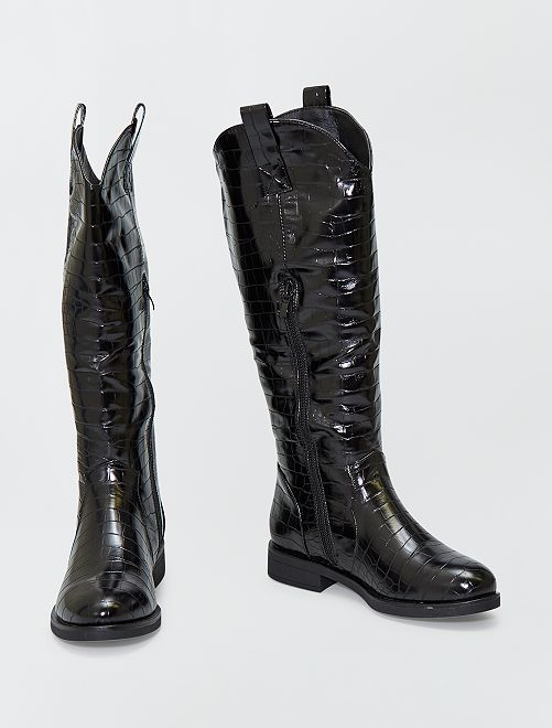 Botas altas estilo western                             NEGRO