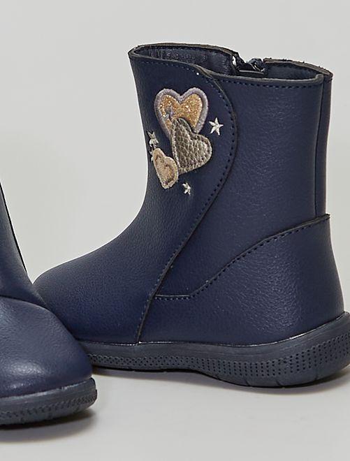 Botas 'corazones'                             azul navy