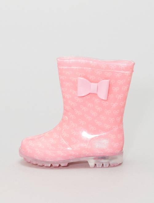 Botas de agua con suela luminosa                                         rosa/rosa Chica
