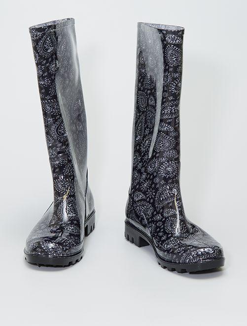 Botas de agua de goma con motivo floral                             negro