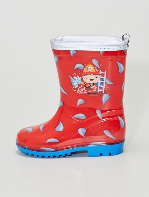 Botas de agua estampadas                             rojo