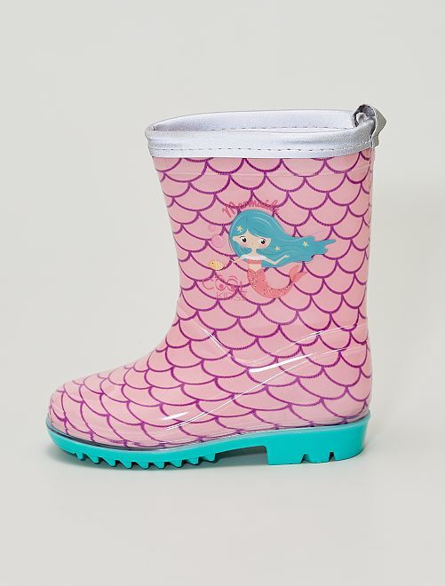 Botas de agua estampadas 'sirena'                             rosa