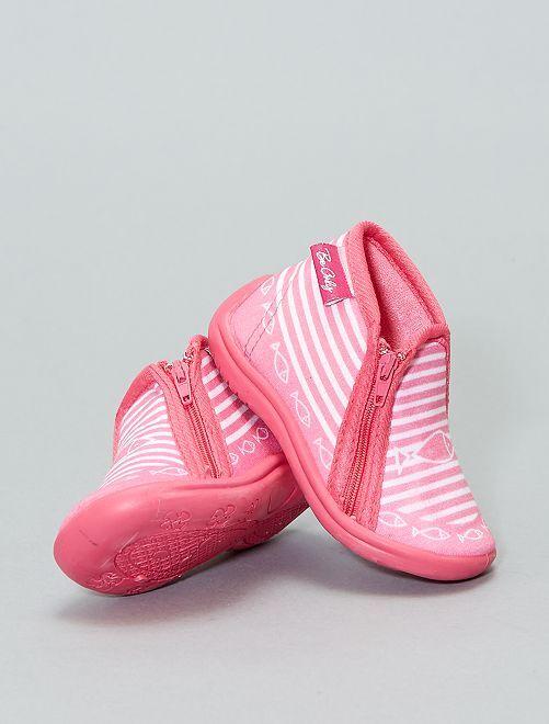 Botas de casa con suela de piel                             rosa