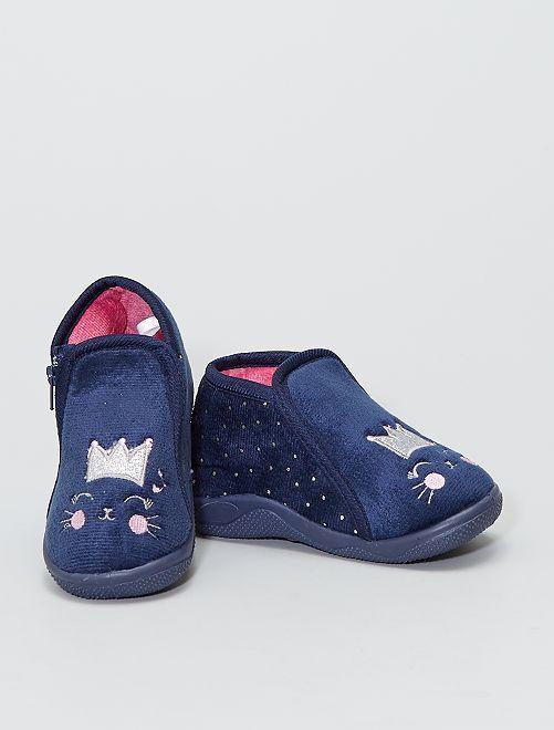 Botas de casa 'gato'                             azul navy