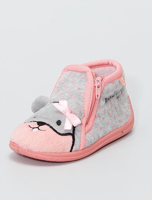 Botas de casa 'ratón'                             gris/rosa