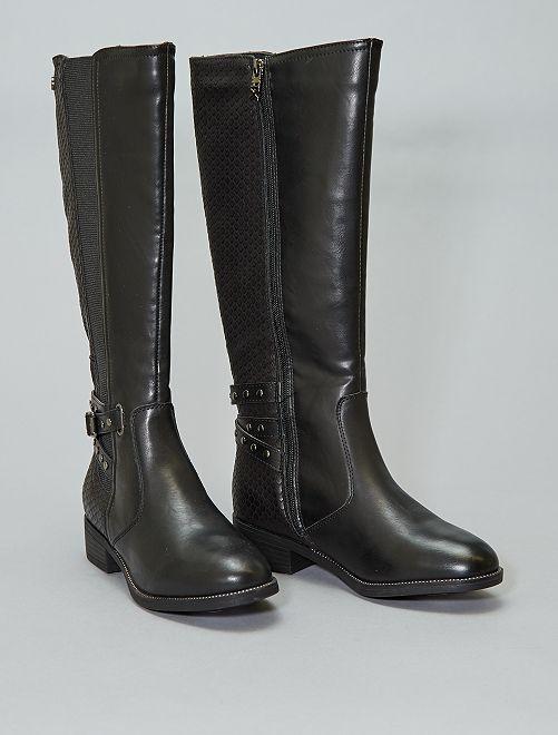 Botas en dos materiales con elásticos 'Xti'                             negro