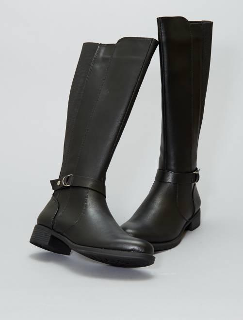Botas planas de piel sintética                             negro Mujer talla 34 a 48