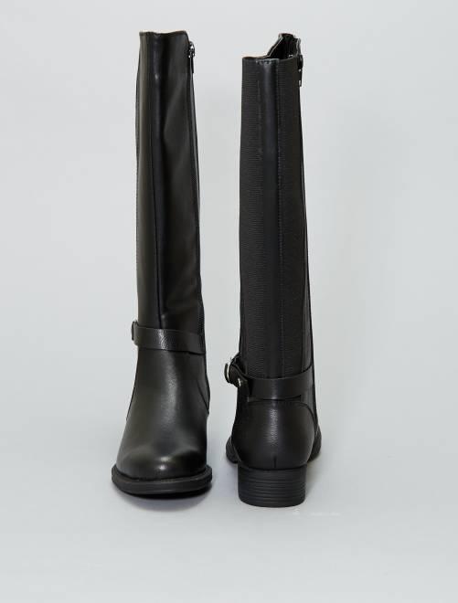 44f014a21 Botas planas de piel sintética Mujer talla 34 a 48 - negro - Kiabi ...