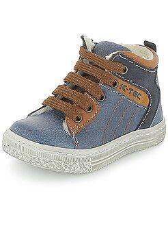 Zapatos - Botines altos de dos materiales
