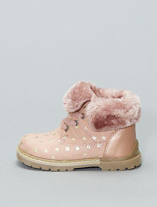 Botines con cordón con estampado de 'estrellas'                             rosa Zapatos
