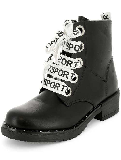 Botines con cordones estampados 'sport'                             negro Zapatos