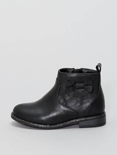 Botines con lazo                                         negro Zapatos