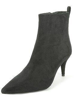 Zapatos mujer - Botines de antelina con tacón