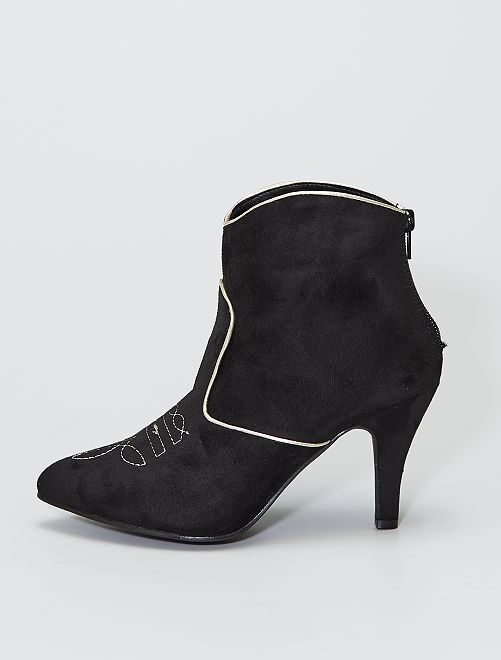 Botines de antelina estilo western                             negro