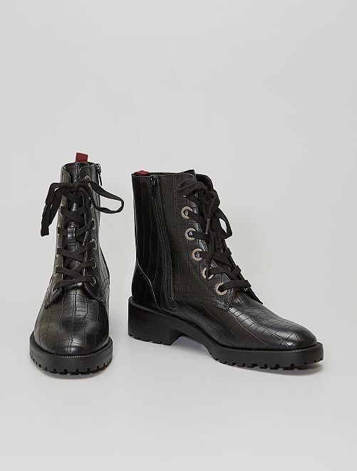 Botines de 'cocodrilo'                             negro