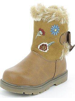 Zapatos niña - Botines de dos materiales con bordado de 'flores'