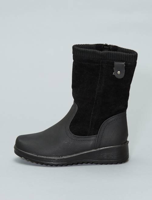 Botines de dos materiales con cuña                             negro Zapatos