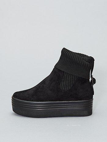 Botines de efecto calcetín con plataforma - Kiabi