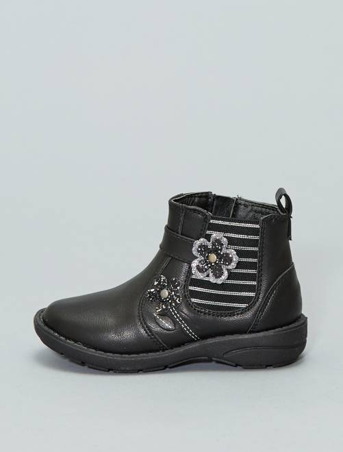 Botines de flores                             negro Zapatos