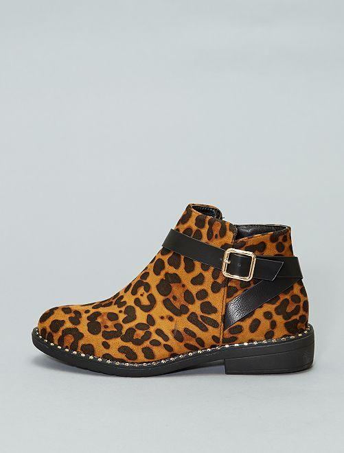 Botines de leopardo con tacón                             BEIGE