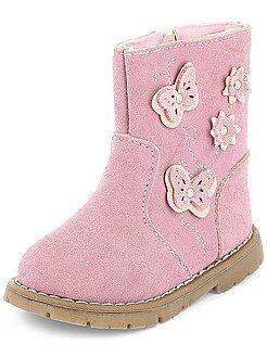 Boots, botas - Botines de piel con 'mariposas' - Kiabi