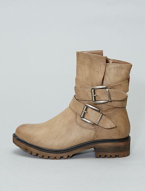 Botines de piel sintética                             caqui Zapatos