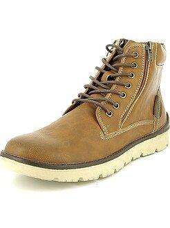 Zapatos - Botines de piel sintética con cierre de cremallera