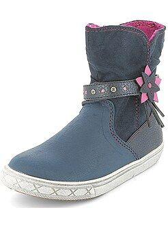 Boots, botas - Botines de piel sintética con interior abrigado - Kiabi