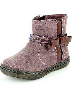 Zapatos bebé - Botines de piel sintética con lazo de fantasía - Kiabi