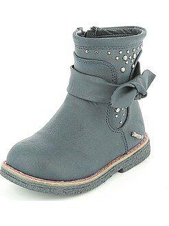 Boots, botas - Botines de piel sintética con tacto de piel de melocotón - Kiabi