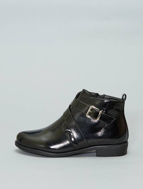 Botines de polipiel de charol                             negro Zapatos