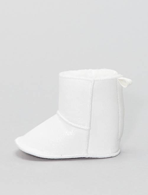 Botines de tela con brillos                             blanco nieve Bebé niña