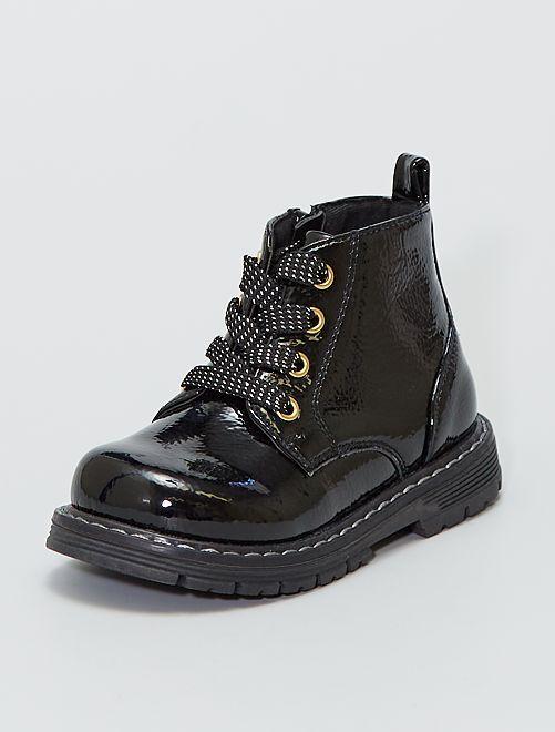 Botines estilo militar                             negro
