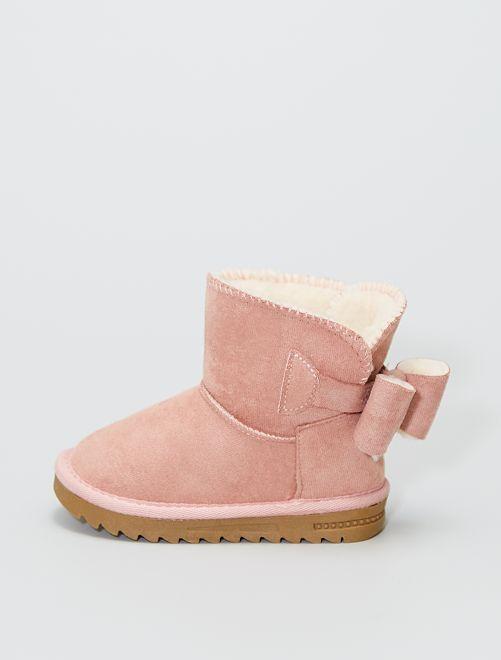 Botines forrados de antelina                                                     rosa