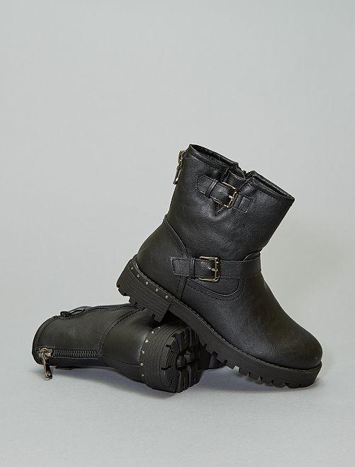 Botines moteros tacón strass                             negro