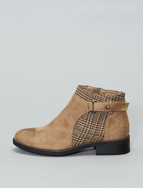 Botines pata de gallo                                         BEIGE Zapatos