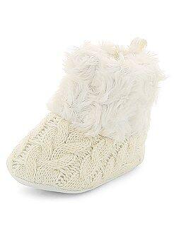 Zapatos bebé - Botines trenzados de pelo sintético - Kiabi