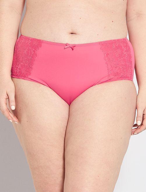 Braguita de talle alto con encaje                                                                             rosa