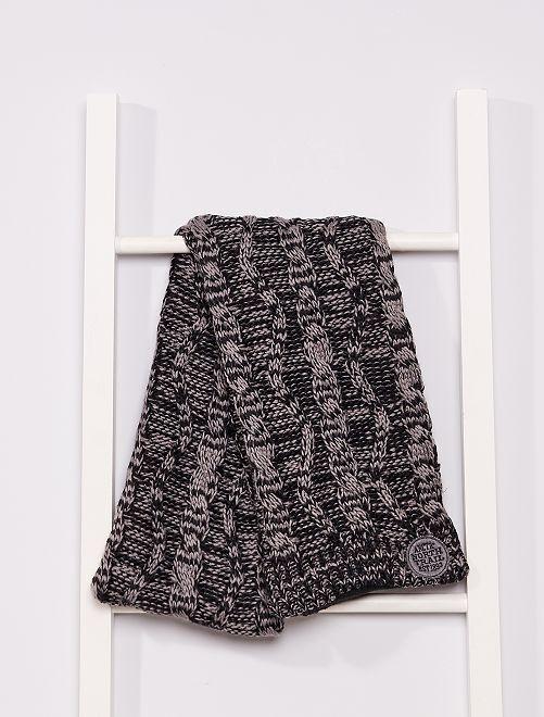 Bufanda de punto con forro polar                             negro/gris