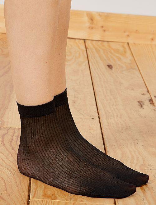 Calcetines tobilleros 'DIM' Style a rayas                             negro