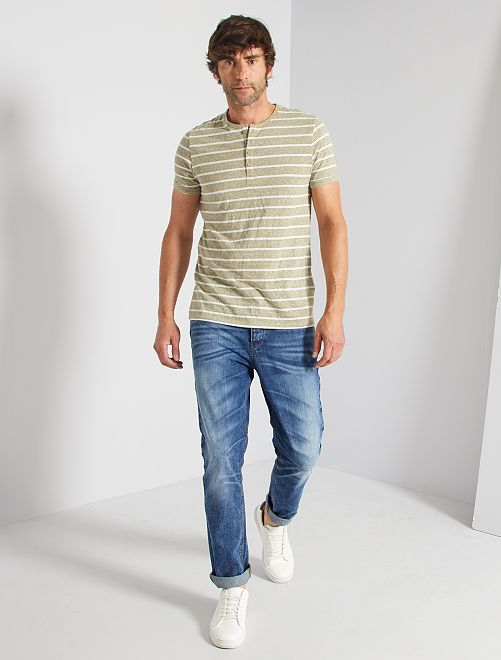 Camisa a rayas con botones                             a rayas caqui