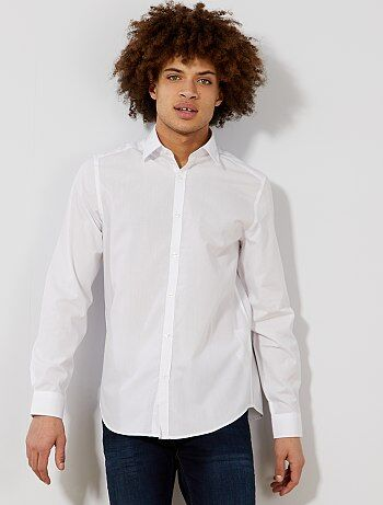 Camisa blanca lisa de corte recto - Kiabi