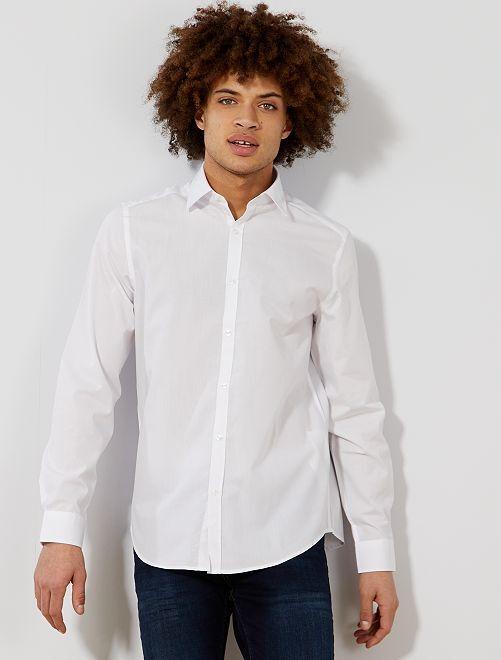 Camisa blanca lisa de corte recto                                         blanco Hombre