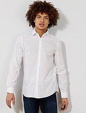 Camisa blanca lisa de corte recto