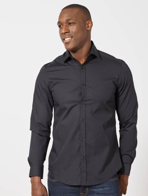 Camisa blanca lisa de corte recto                                         negro Hombre