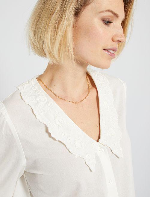 Camisa bordada                             blanco nieve