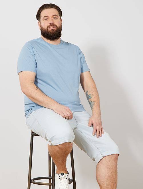 Camisa cómoda de punto                                                                                                                                                                             azul celeste Tallas grandes hombre