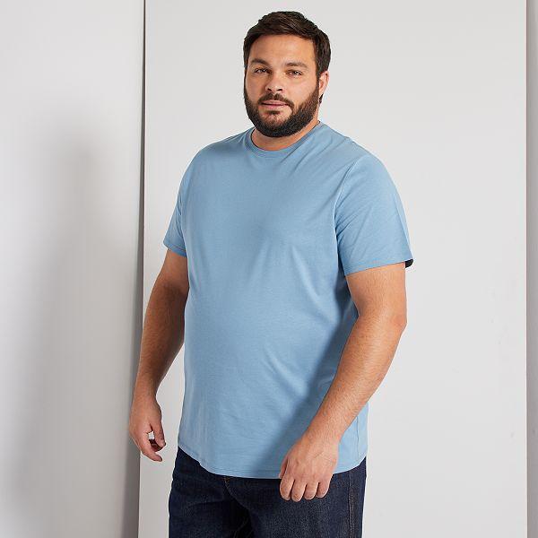 Camisa Comoda De Punto Tallas Grandes Hombre Azul Gris Kiabi 5 00